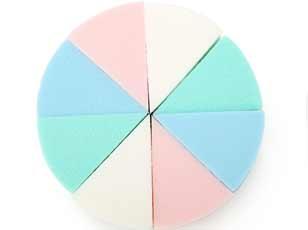 优质4色圆形八切海绵化妆粉扑