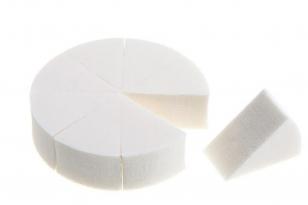 8020优质白色圆形八切化妆海绵粉扑